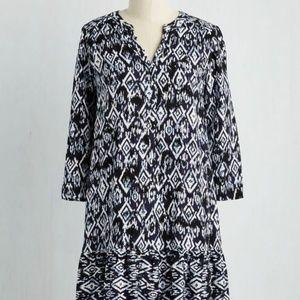Modcloth Navy Blue White Shift Dress Drop Waist